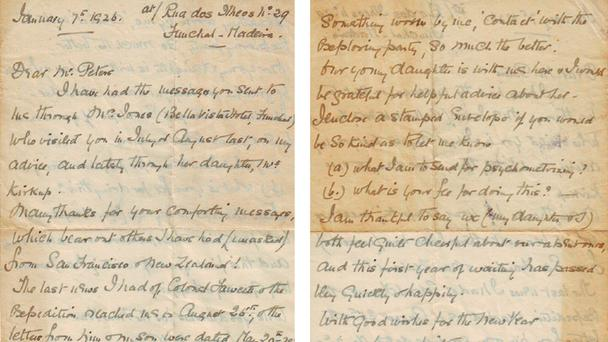 The 1926 letter from the wife of explorer Percival Fawcett was found inside a sewing machine