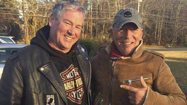 Dan Barkalow and Bruce Springsteen pose for a photo in Wall Township (Ryan Bailey/AP)