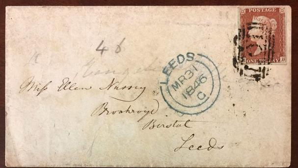 One of two envelopes addressed by Charlotte Bronte to her life-long friend Ellen Nussey, which will go under the hammer (Henry Aldridge & Son/PA)