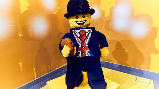 The new Lego mascot named Lester in its new store in London's Leicester Square