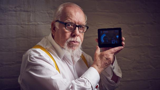 Sir Peter Blake with a smart energy meter, the inspiration for his new collection