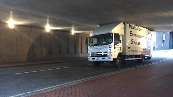 A lorry stuck while trying to negotiate a 9ft 3in underpass in Birmingham's Dale End, which has become notorious after similar incidents