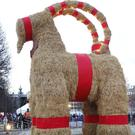 The traditional Christmas goat was unveiled in Gavle, but lasted only a few hours (TT News Agency/AP)
