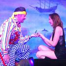 Adam Moss, who plays Smee in Peter Pan, proposes to his girlfriend Karen Tomkins during a performance of the pantomime (Mansfield Palace Theatre/PA)