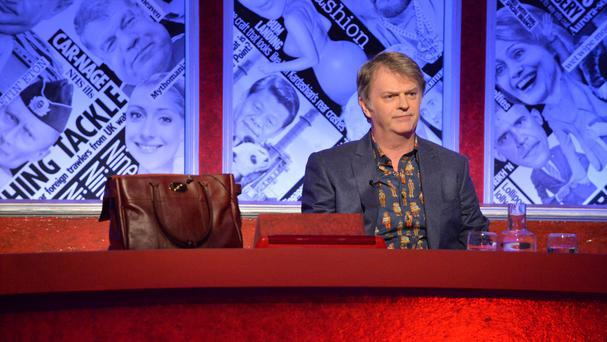 Paul Merton next to a handbag after former education secretary Nicky Morgan pulled out of filming the BBC satirical panel show Have I Got News For You (BBC/PA)