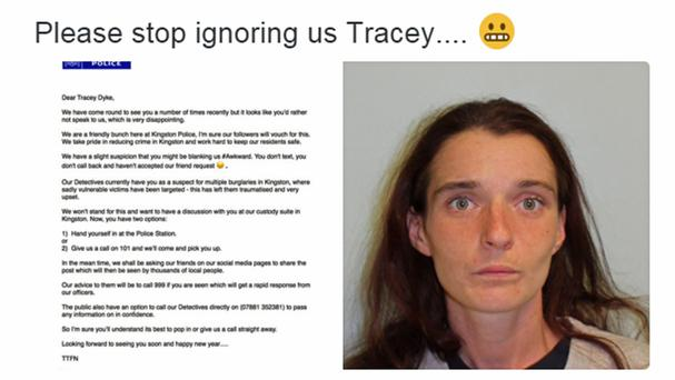 A Twitter letter from police to Tracey Dyke (MetPolice/PA)