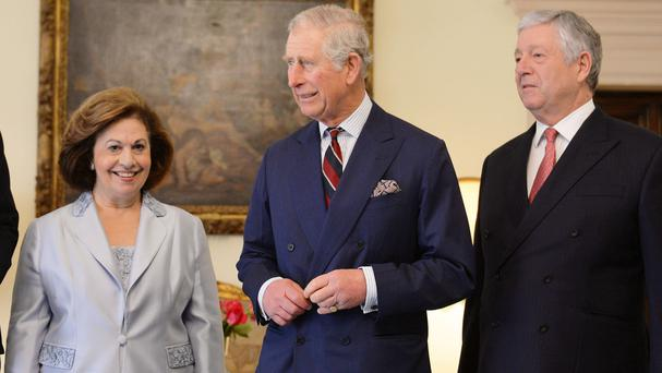 The Prince of Wales with Crown Prince Alexander Karadjordjevic of Serbia and Princess Katherine of Serbia at the White Palace outside Belgrade