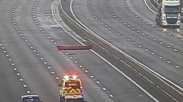 The canoe was found in the fast lane of the M1 (Highways England/Crown Copyright/PA Wire)