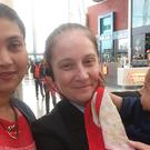 Krishna Barot, left, with her babyNitul and security guard Michelle McKeller, who helped deliver Nitul after Krishna went into labour unexpectedly at Silverburn shopping centre near Glasgow