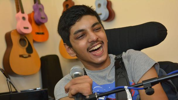Amyas Caeiro defied his condition by writing and performing a Valentine's Day song for his charity crush (Shooting Star Chase)
