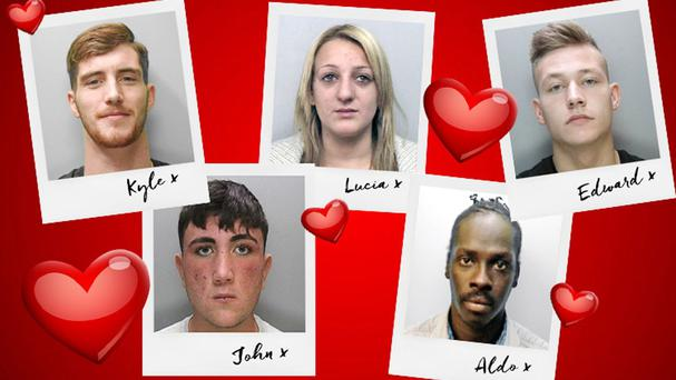 Kyle Gilmore, 23, John Casey, 18, Lucia Biffi, 26, Aldo Oringa, 31 and Edward Stokes, 19, who feature in messages to people on the Sussex Police most wanted list (Sussex Police/PA)
