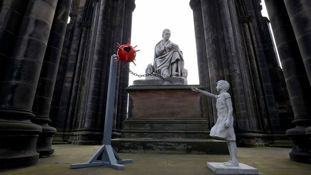 A mysterious sculpture which has been left at the Scott Monument on Princes Street in Edinburgh