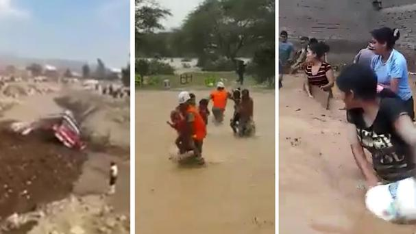 Dramatic footage shows woman escaping mudslide in Peru