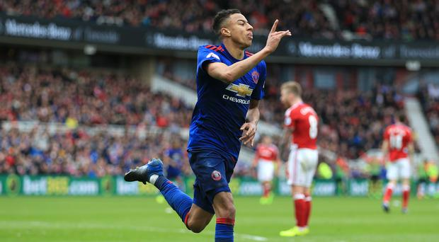 Manchester United's Jesse Lingard celebrates scoring his side's second goal of the game during the Premier League match at the Riverside Stadium, Middlesbrough.