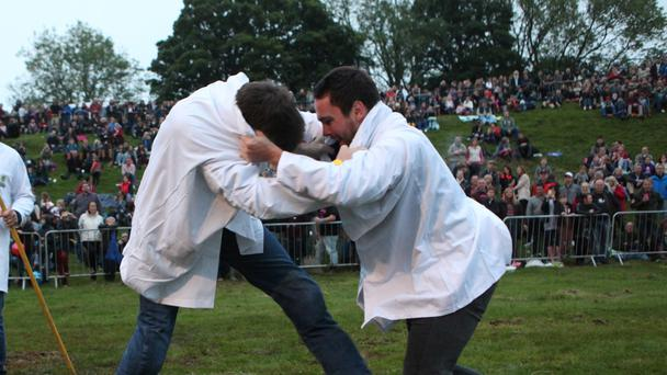 The shin-kicking championships, one of the events during the Cotswold Olimpicks 2014, taking place near Chipping Campden in Gloucestershire.