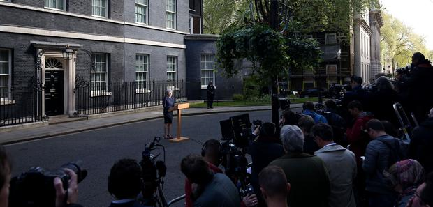 Prime Minister Theresa May makes a statement in Downing Street, London, announcing a snap general election on June 8.