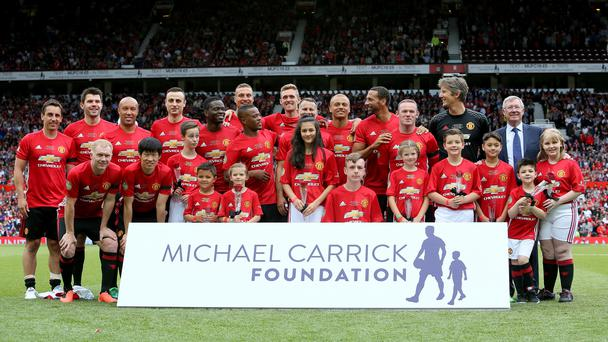 Michael Carrick testimonial: Manchester United ace gets nutmegged by own son