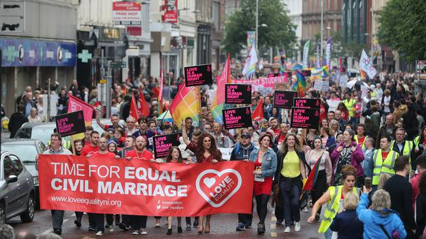 Thousands of campaigners marched through Belfast towards the City Hall (Niall Carson/PA)