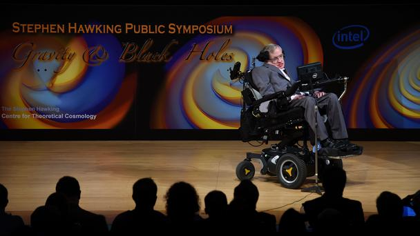 Stephen Hawking talks about his life and work during a public symposium (Joe Giddens/PA)