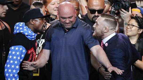 The stare-down between the champions (Jae C. Hong/AP)
