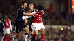 Manchester United's Gary Neville and Arsenal's Jose Antonio Reyes – (Mike Egerton/EMPICS Sport)