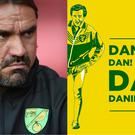 Norwich City manager Daniel Farke and an Alan Partridge flag design – (Daniel Hambury/EMPICS Sport, @RobotCanary/Along Come Norwich)