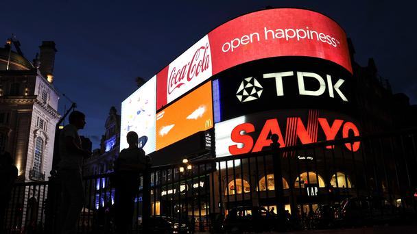 Adverts at Piccadilly Circus (Tim Ireland/PA)
