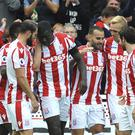 Stoke's Jese, 3rd right, celebrates with team mates( Rui Vieira/AP/PA)