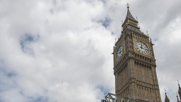 The Elizabeth Tower at the Palace of Westminster as scaffolding goes up around the building on the day Big Ben is silenced for a four-year restoration project
