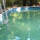 Leslie Kahn's pool in New Hampshire. The 61-year-old was stuck in the water after the ladder broke but help came after she posted an appeal on Facebook (Leslie Kahn)
