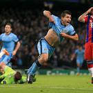 Manchester City's Sergio Aguero celebrates scoring against Bayern Munich