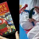 A Harry Potter book and kids with belts in karate
