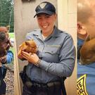 Troopers from New Jersey State Police with the rescued piglet called Norris (New Jersey State Police/Facebook)