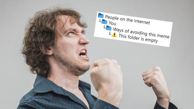 The meme and a man angry at the meme