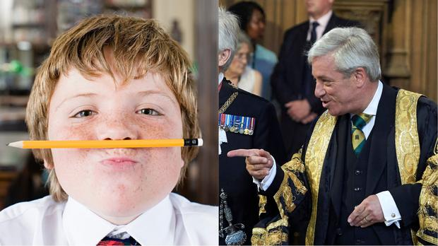 A schoolkid with a pencil and the speaker of the House of Commons