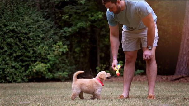 Davis Smith with his new puppy