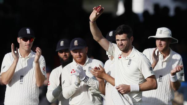 England bowler James Anderson celebrates his 500th Test wicket