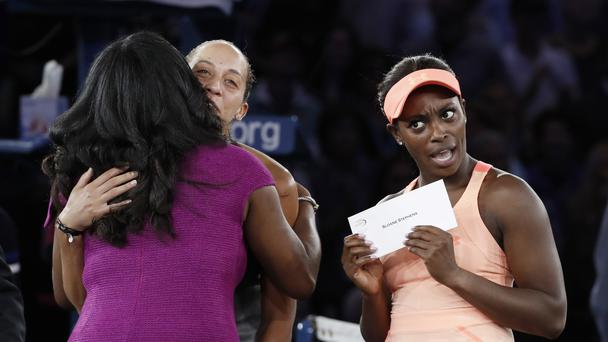 Sloane Stephens reacts to her prize money after winning the US Open