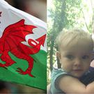 The Welsh flag and Elin and here daughter Elena