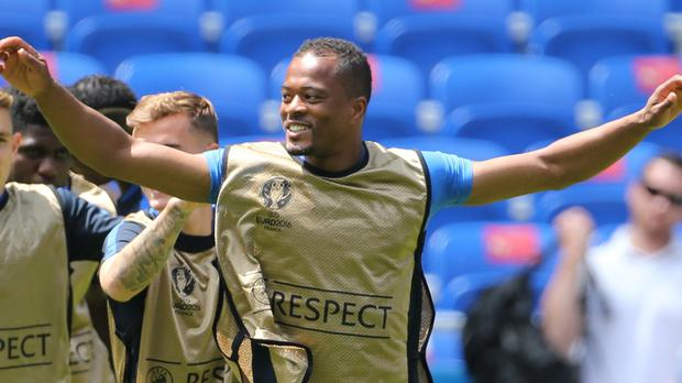 France's Patrice Evra during a training session at the Stade des Lumieres