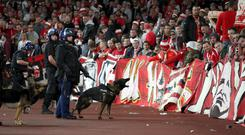 Police with dogs at the Emirates Stadium during Arsenal's Europa League game against Cologne