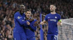 Chelsea's Eden Hazard with his team mates