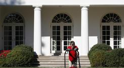 Frank Giaccio, 11, of Falls Church, Va., mows the lawn of the Rose Garden (Jacquelyn Martin/AP)