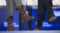 Canada's Prime Minister Justin Trudeau wears a pair of Star Wars-themed socks