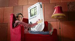 Ilhan Unal with his massive Game Boy