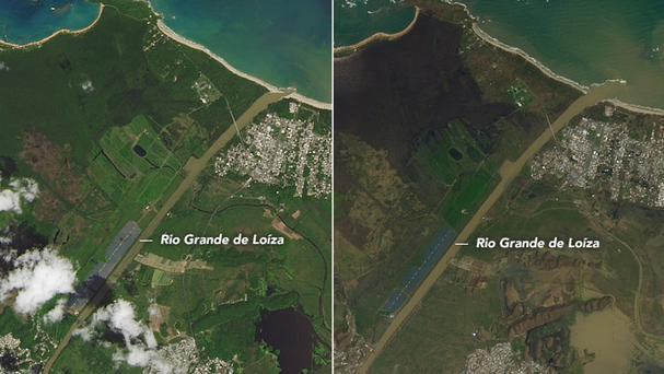 The difference in the colour of Puerto Rico a year apart (Nasa Earth Observatory)
