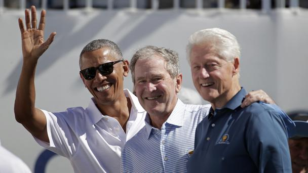 Former US presidents Barack Obama, George Bush and Bill Clinton at the Presidents Cup