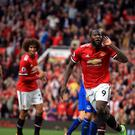 Manchester United striker Romelu Lukaku celebrates scoring