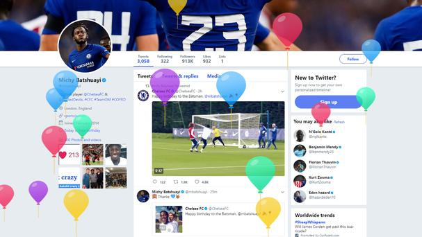 Michy Batshuayi's Twitter page on his birthday