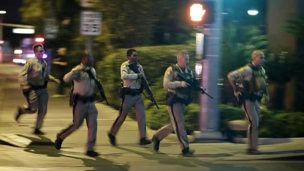 Police at the scene of a shooting in Las Vegas